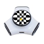 Dropout Yellow Black And White Distorted Check 3-Port USB Hub Front