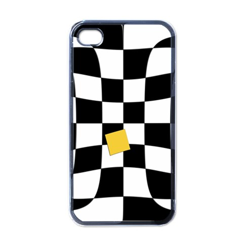 Dropout Yellow Black And White Distorted Check Apple iPhone 4 Case (Black)