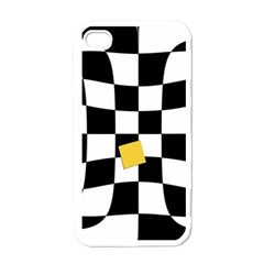 Dropout Yellow Black And White Distorted Check Apple iPhone 4 Case (White)