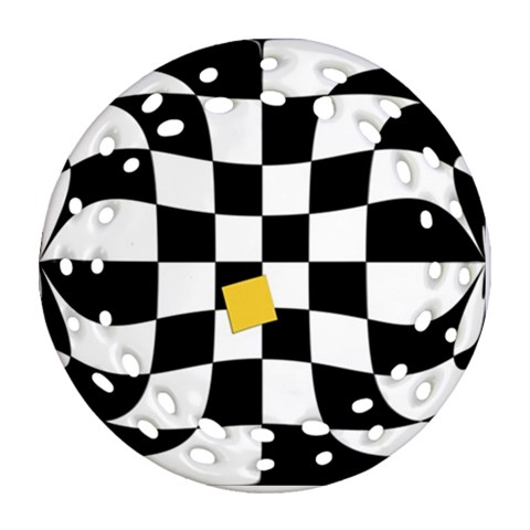 Dropout Yellow Black And White Distorted Check Ornament (Round Filigree)