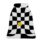 Dropout Yellow Black And White Distorted Check Ornament (Bell)  Front