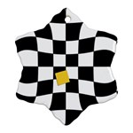 Dropout Yellow Black And White Distorted Check Snowflake Ornament (2-Side) Back
