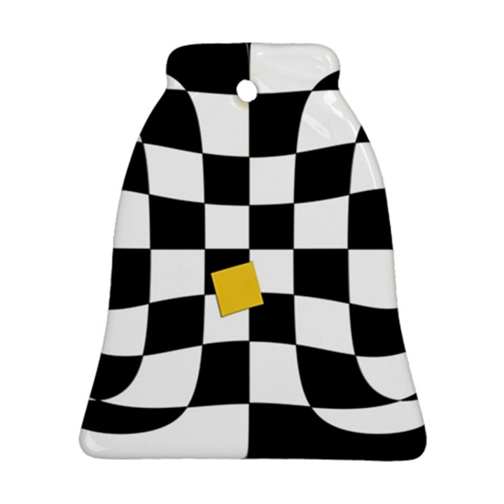 Dropout Yellow Black And White Distorted Check Bell Ornament (2 Sides)