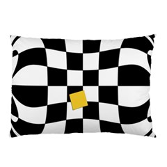 Dropout Yellow Black And White Distorted Check Pillow Case (two Sides)