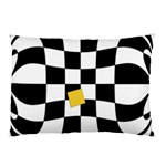 Dropout Yellow Black And White Distorted Check Pillow Case (Two Sides) Back
