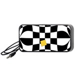 Dropout Yellow Black And White Distorted Check Portable Speaker (Black)  Front