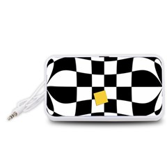 Dropout Yellow Black And White Distorted Check Portable Speaker (White)