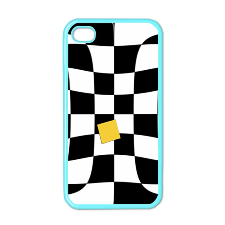 Dropout Yellow Black And White Distorted Check Apple iPhone 4 Case (Color)