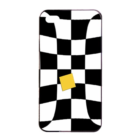 Dropout Yellow Black And White Distorted Check Apple iPhone 4/4s Seamless Case (Black)