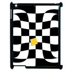 Dropout Yellow Black And White Distorted Check Apple iPad 2 Case (Black)