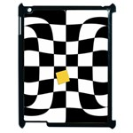 Dropout Yellow Black And White Distorted Check Apple iPad 2 Case (Black) Front