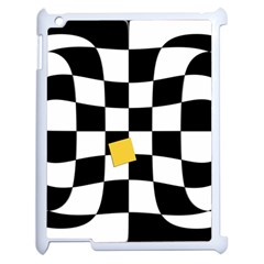 Dropout Yellow Black And White Distorted Check Apple iPad 2 Case (White)