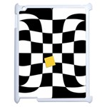 Dropout Yellow Black And White Distorted Check Apple iPad 2 Case (White) Front
