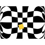 Dropout Yellow Black And White Distorted Check LOVE Bottom 3D Greeting Card (7x5) Back
