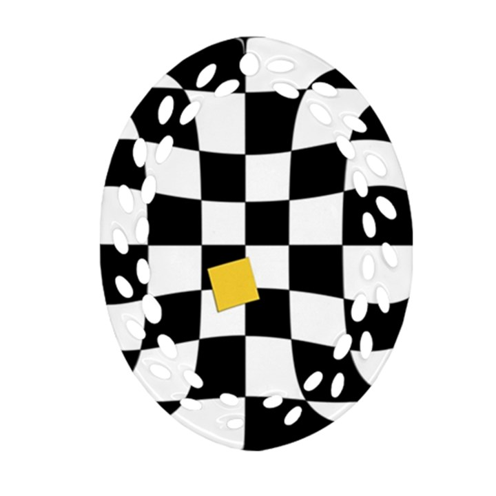 Dropout Yellow Black And White Distorted Check Ornament (Oval Filigree)