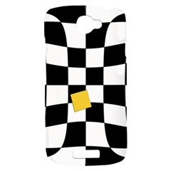 Dropout Yellow Black And White Distorted Check HTC One S Hardshell Case