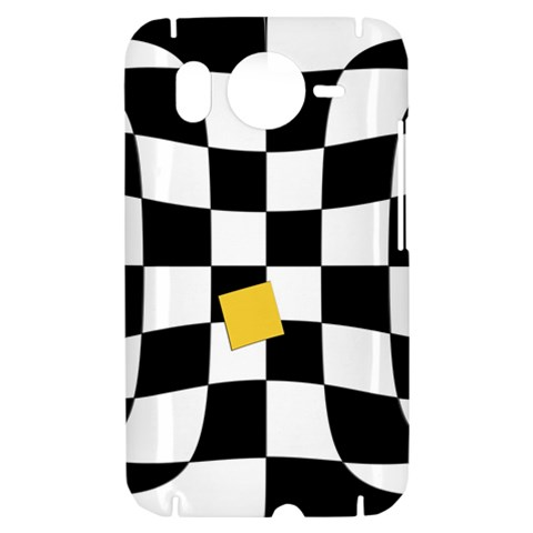 Dropout Yellow Black And White Distorted Check HTC Desire HD Hardshell Case