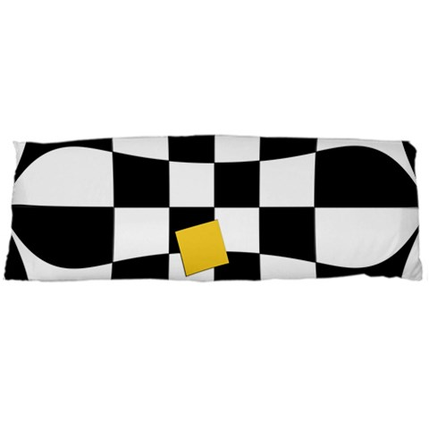 Dropout Yellow Black And White Distorted Check Body Pillow Case Dakimakura (Two Sides)