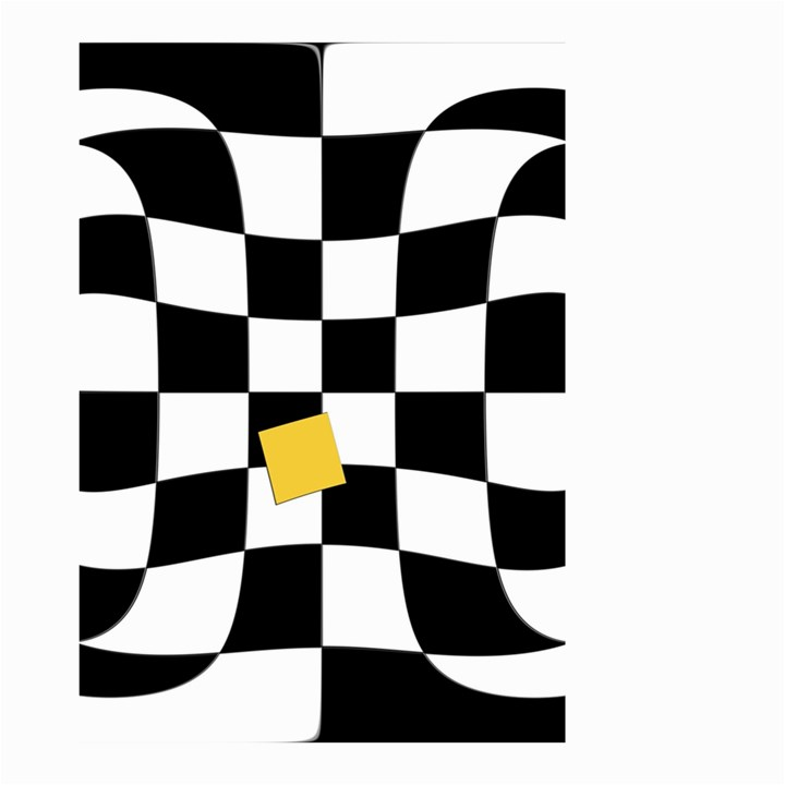 Dropout Yellow Black And White Distorted Check Small Garden Flag (Two Sides)