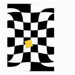 Dropout Yellow Black And White Distorted Check Small Garden Flag (Two Sides) Back