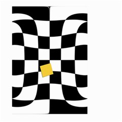 Dropout Yellow Black And White Distorted Check Large Garden Flag (Two Sides)