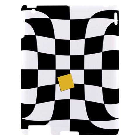 Dropout Yellow Black And White Distorted Check Apple iPad 2 Hardshell Case