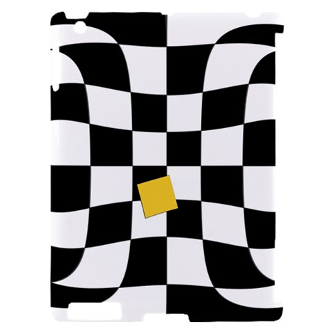 Dropout Yellow Black And White Distorted Check Apple iPad 2 Hardshell Case (Compatible with Smart Cover)