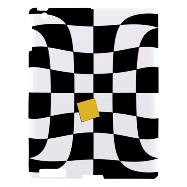 Dropout Yellow Black And White Distorted Check Apple iPad 3/4 Hardshell Case