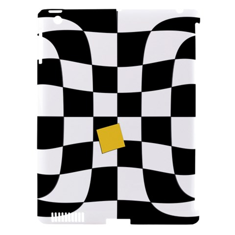 Dropout Yellow Black And White Distorted Check Apple iPad 3/4 Hardshell Case (Compatible with Smart Cover)