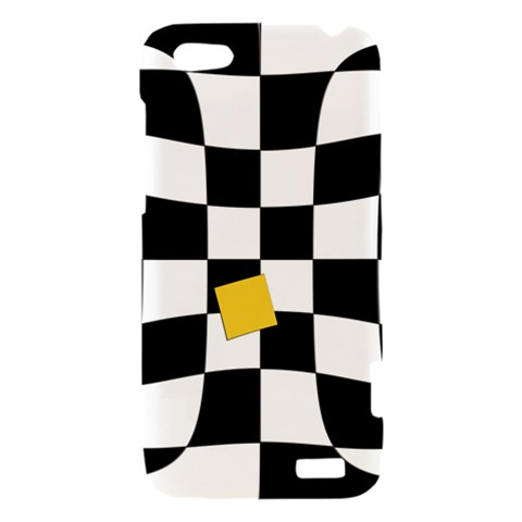 Dropout Yellow Black And White Distorted Check HTC One V Hardshell Case