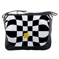 Dropout Yellow Black And White Distorted Check Messenger Bags