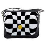 Dropout Yellow Black And White Distorted Check Messenger Bags Front