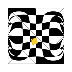 Dropout Yellow Black And White Distorted Check Acrylic Tangram Puzzle (6  X 6 )