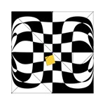 Dropout Yellow Black And White Distorted Check Acrylic Tangram Puzzle (6  x 6 ) Front