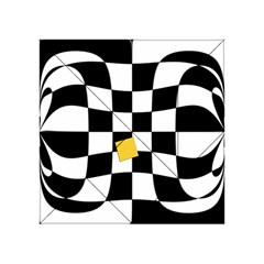 Dropout Yellow Black And White Distorted Check Acrylic Tangram Puzzle (4  X 4 )