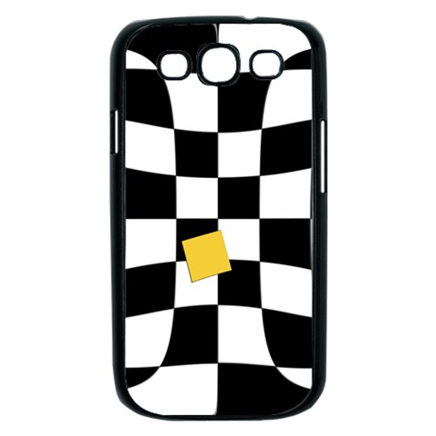 Dropout Yellow Black And White Distorted Check Samsung Galaxy S III Case (Black)