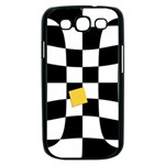 Dropout Yellow Black And White Distorted Check Samsung Galaxy S III Case (Black) Front
