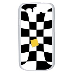 Dropout Yellow Black And White Distorted Check Samsung Galaxy S III Case (White)