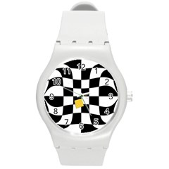 Dropout Yellow Black And White Distorted Check Round Plastic Sport Watch (M)
