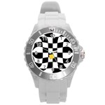 Dropout Yellow Black And White Distorted Check Round Plastic Sport Watch (L) Front