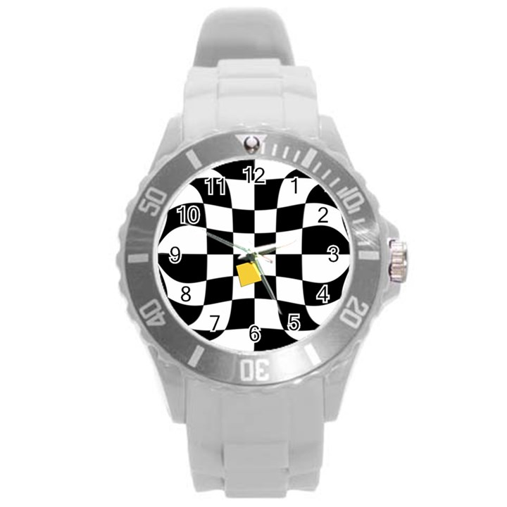 Dropout Yellow Black And White Distorted Check Round Plastic Sport Watch (L)