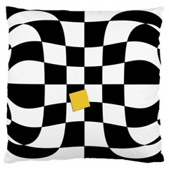 Dropout Yellow Black And White Distorted Check Large Cushion Case (One Side)