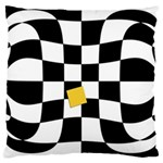 Dropout Yellow Black And White Distorted Check Large Cushion Case (One Side) Front