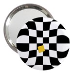 Dropout Yellow Black And White Distorted Check 3  Handbag Mirrors Front