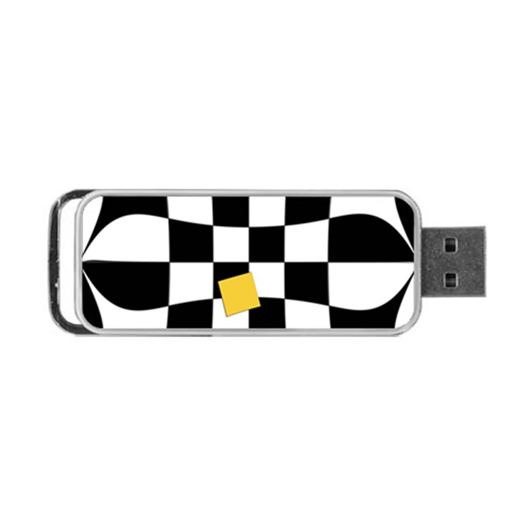 Dropout Yellow Black And White Distorted Check Portable USB Flash (One Side)