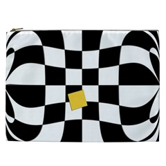 Dropout Yellow Black And White Distorted Check Cosmetic Bag (XXL)