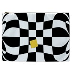 Dropout Yellow Black And White Distorted Check Cosmetic Bag (XXL)  Front