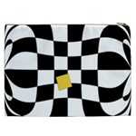 Dropout Yellow Black And White Distorted Check Cosmetic Bag (XXL)  Back