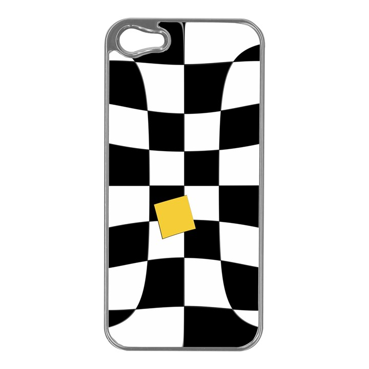 Dropout Yellow Black And White Distorted Check Apple iPhone 5 Case (Silver)