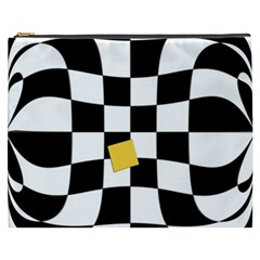 Dropout Yellow Black And White Distorted Check Cosmetic Bag (xxxl)